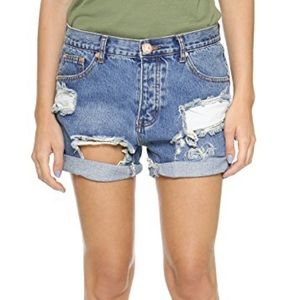 One Teaspoon Distressed Pacifica Chargers Shorts